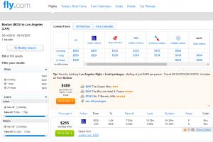 Boston to LA: Fly.com Results Page