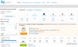 Boston to NYC: Fly.com Results Page