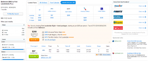 Baltimore to Ft Lauderdale: Fly.com Results Page
