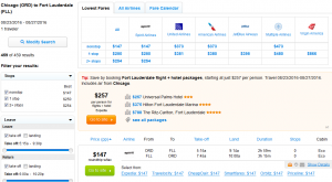 Chicago to Fort Lauderdale; Fly.com Results Page