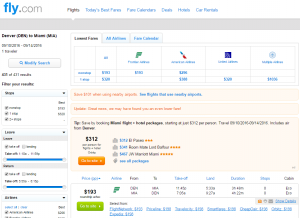 Denver to Miami: Fly.com Results Page