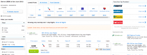Denver to San Juan: Fly.com Results Page