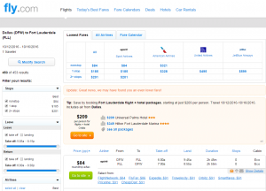 Dallas to Ft Lauderdale: Fly.com Results Page
