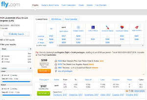Fort Lauderdale to LA: Fly.com Results Page