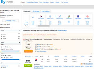LA to Bangkok: Fly.com Results Page