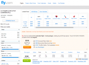 LA to Fort Lauderdale: Fly.com Results Page