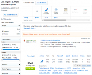 LA to Nepal: Fly.com Results Page