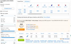 LA to Manila: Fly.com Results Page