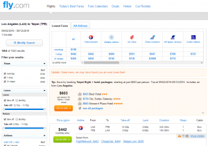 LA to Taipei: Fly.com Results Page