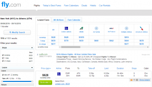 NYC to Athens: Fly.com Results Page