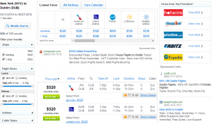 NYC to Dublin: Fly.com Results Page