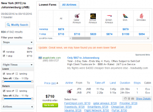 NYC to Johannesburg: Fly.com Results Page