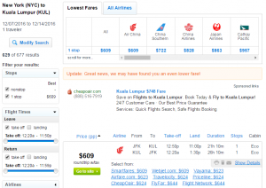 NYC to Malaysia: Fly.com Results Page
