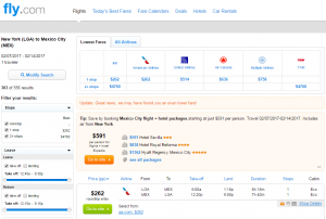 NYC to Mexico City: Fly.com Results Page