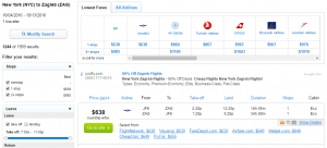 NYC to Zagreb: Fly.com Results Page
