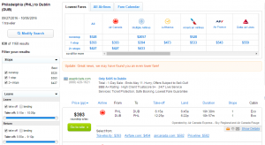Philly to Dublin: Fly.com Results Page