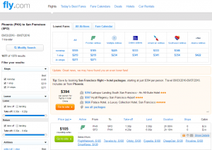 Phoenix to SF: Fly.com Results Page