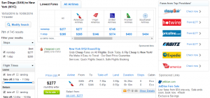 San Diego to NYC: Fly.com Results Page