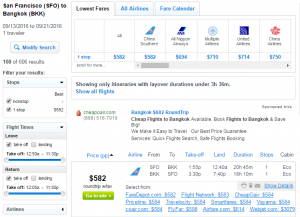 SF to Bangkok: Fly.com Results Page
