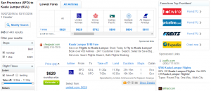 SF to Malaysia: Fly.com Results Page