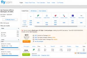 SF to D.C.: Fly.com Results Page