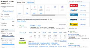 D.C. to Cusco: Fly.com Results Page