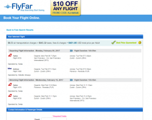 SF to Florence: FlyFar Booking Page