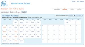 NYC to Dublin: ITA Matirx Calendar Page