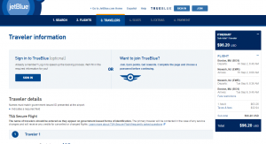 Boston to NYC: JetBlue Booking Page