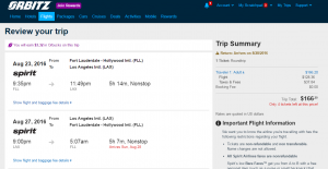 Fort Lauderdale to LA: Orbitz Booking Page