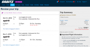 LA to Fort Lauderdale: Orbitz Booking Page