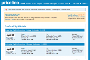 Priceline Chicago to NYC: Fly.com Results Page