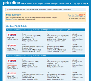 LA to Bangkok: Priceline Booking Page