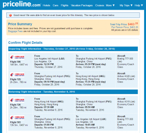 LA to Hong Kong: Priceline Booking Page