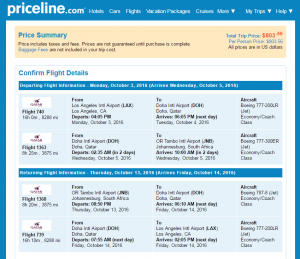 LA to Johannesburg: Priceline Booking Page