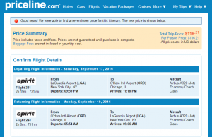 Priceline NYC to CHI: Fly.com Results Page
