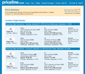 NYC to Johannesburg: Priceline Booking Page