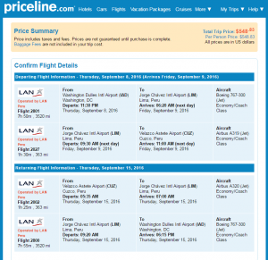 D.C. to Cusco: Priceline Booking Page