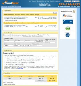 Atlanta to Barcelona: SmartFares Booking Page