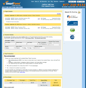 Atlanta to Rome: SmartFares Booking Page