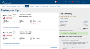 LA to Delhi: Travelocity Results Page