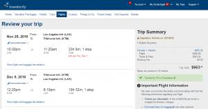 LA to Nepal: Travelocity Booking Page