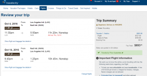LA to Fiji: Travelocity Booking Page
