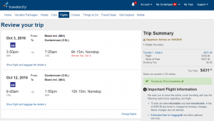 Miami to Oslo:travelocity Booking Page
