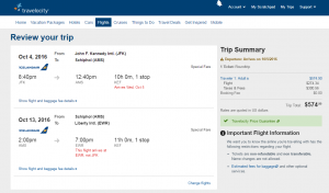 NYC to Amsterdam: Travelocity Booking Page