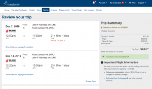 NYC to Malaysia: Travelocity Booking Page