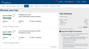 Philly to New Orleans: Travelocity Booking Page