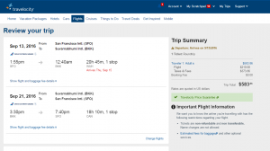SF to Bangkok: Travelocity booking Page