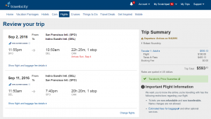SF to Delhi: Travelocity Booking Page