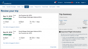 SF to D.C.: Travelocity Booking Page